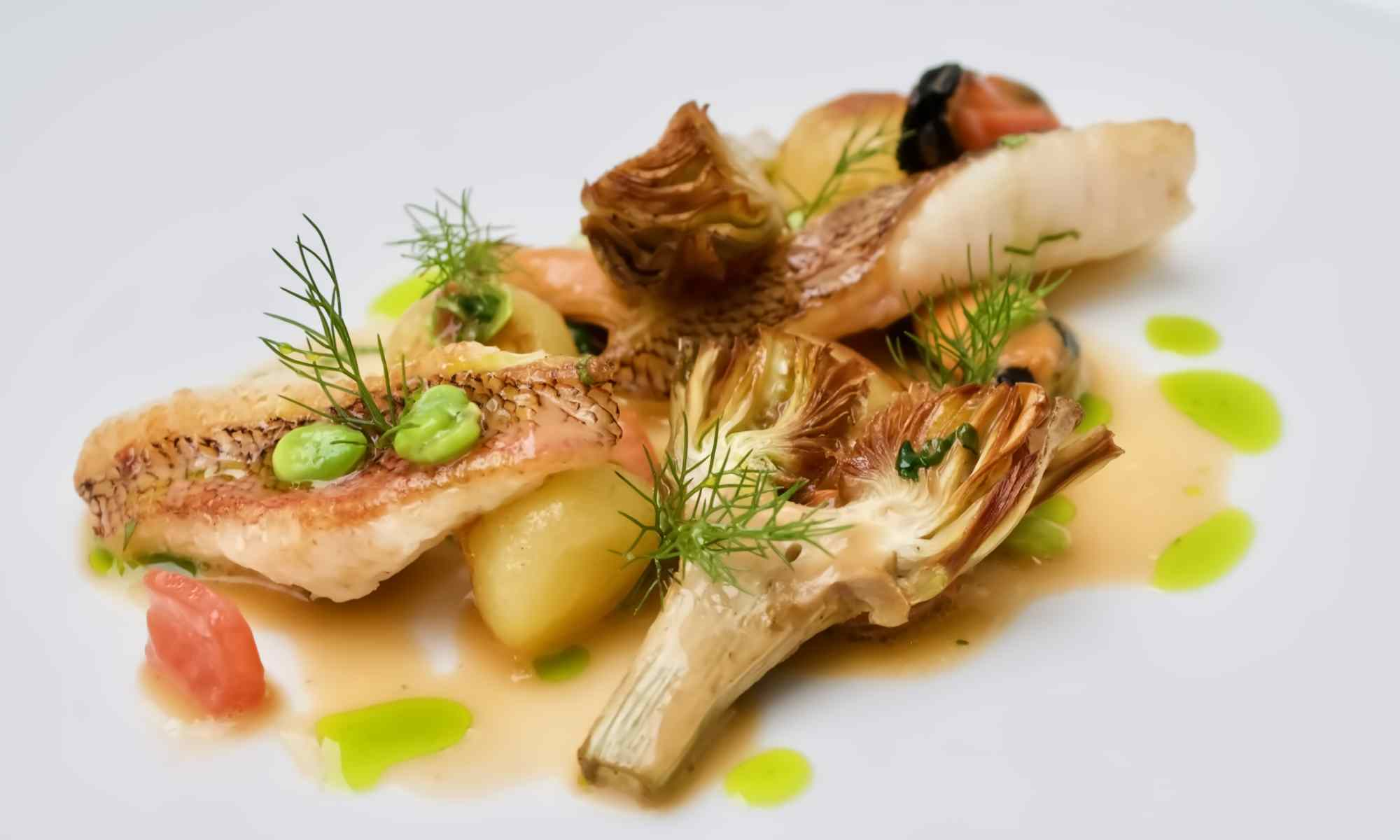 Cap roig, artichokes and mussels - Food by Pollensa Private Chefs