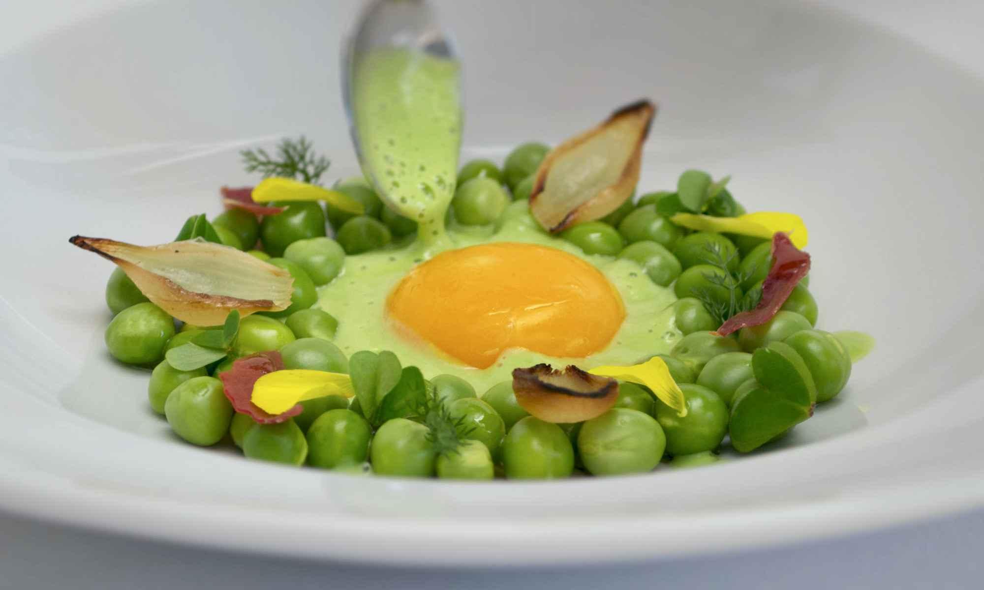 Mallorca Private Chef Service - Confit egg yolk & peas - Food by Pollensa Private Chefs