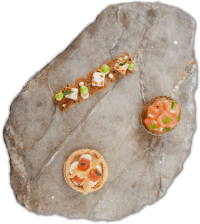 Pollensa Private Chefs - Canape selection served on stone - Top view 200 wide