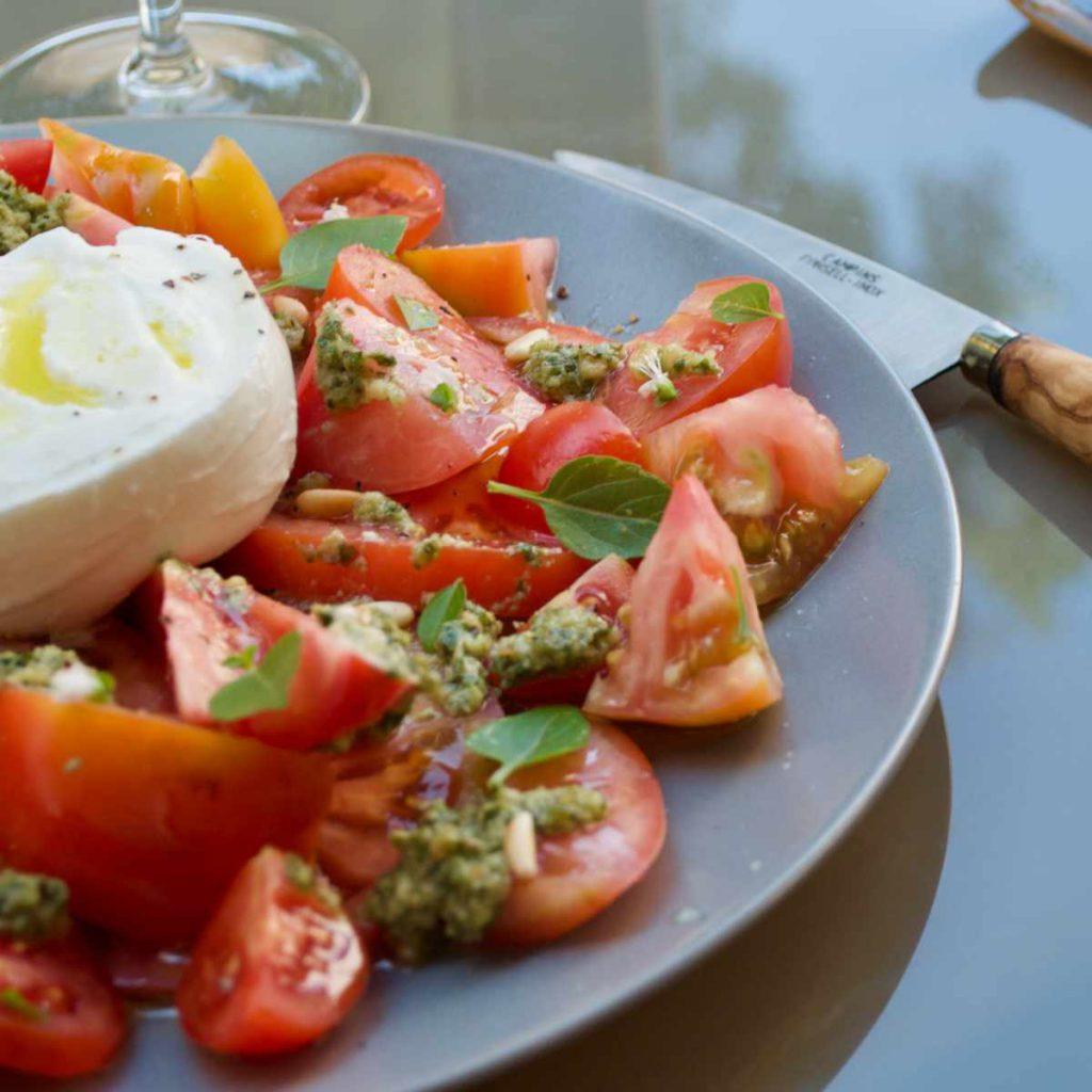Pollensa Private Chefs - Our food - Tomato and mozzarella salad summer lunch