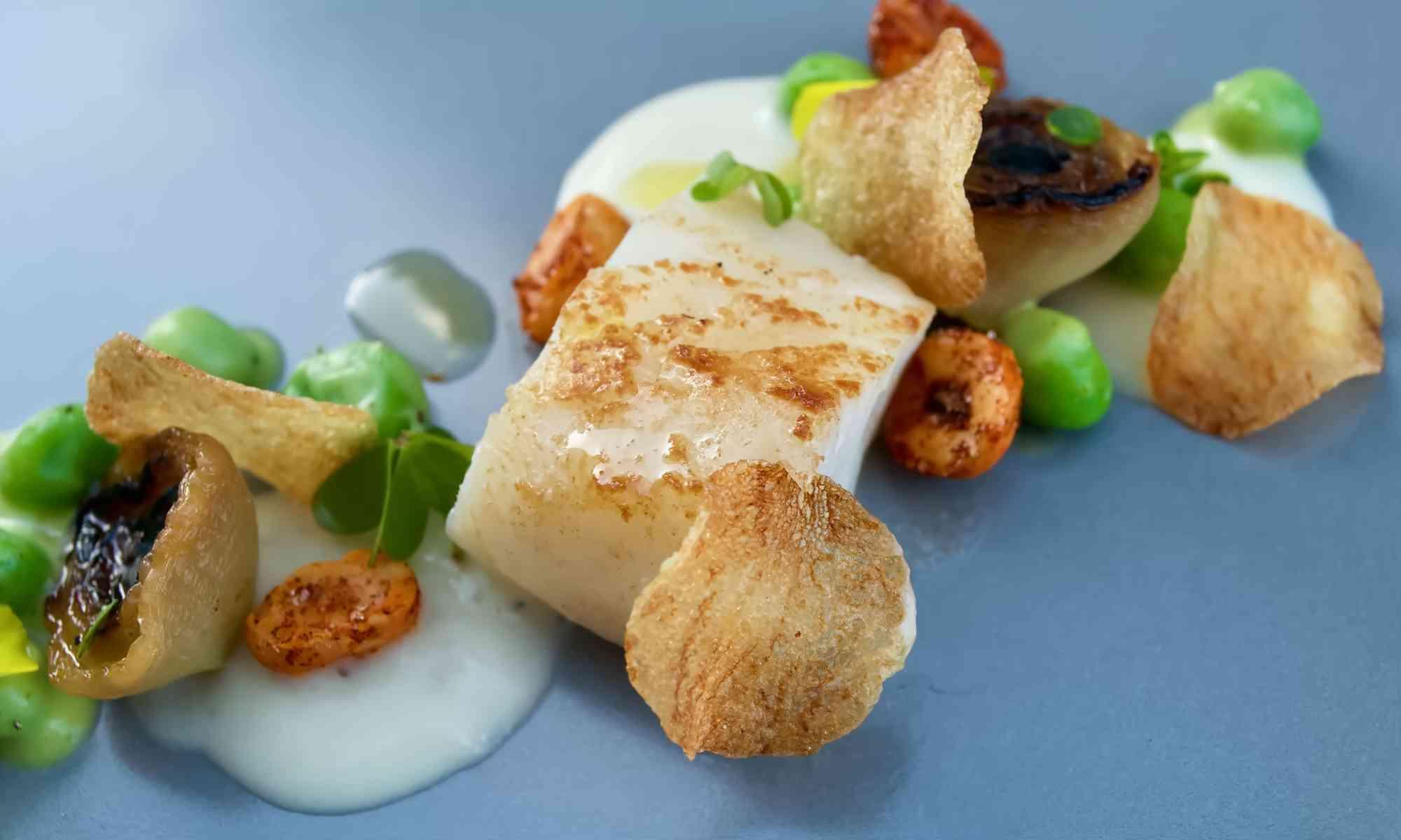 Pollensa Private Chefs - Salt cod, pea and potato puree main course
