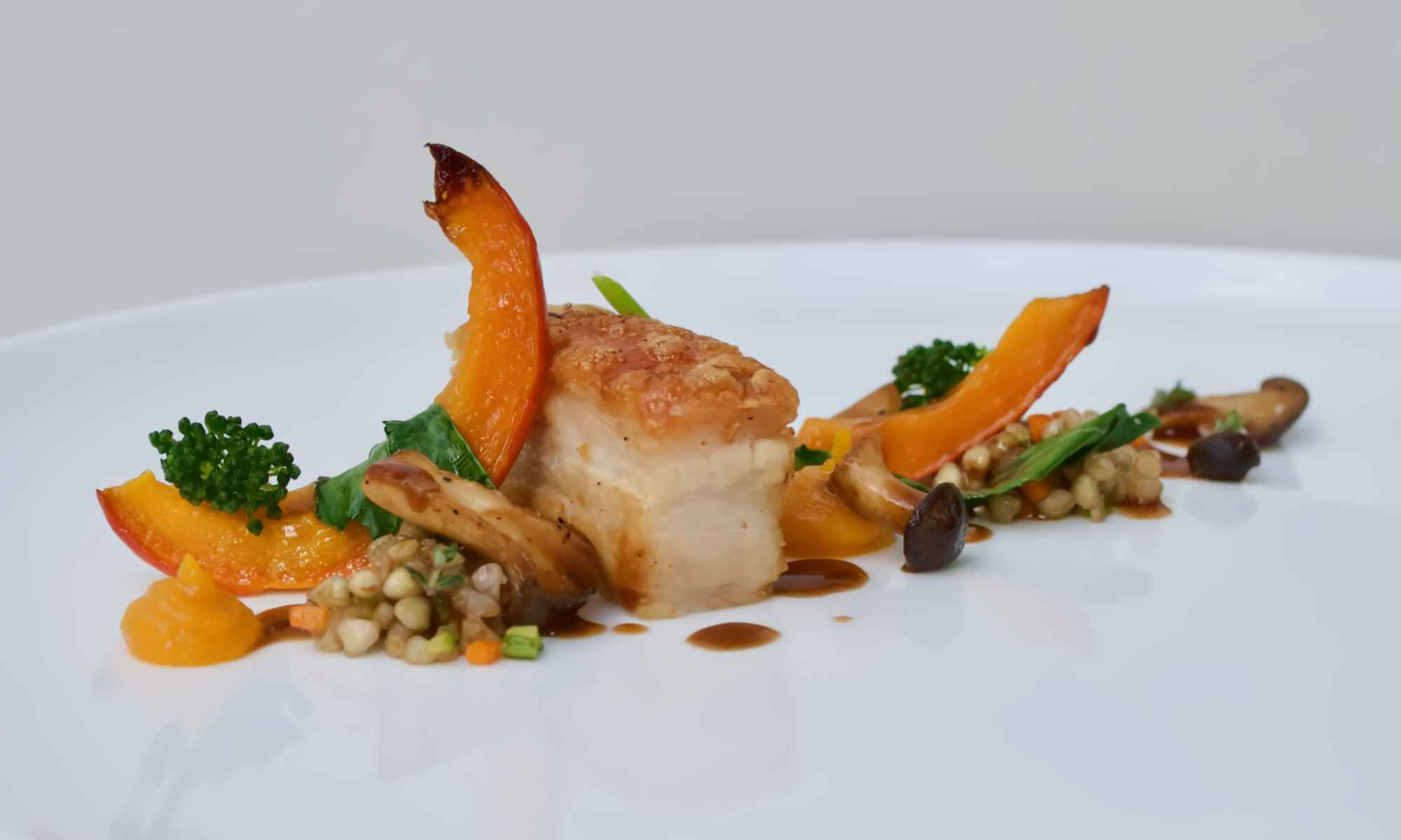 Pork belly, roasted squash & mushroom - Food by Pollensa Private Chefs