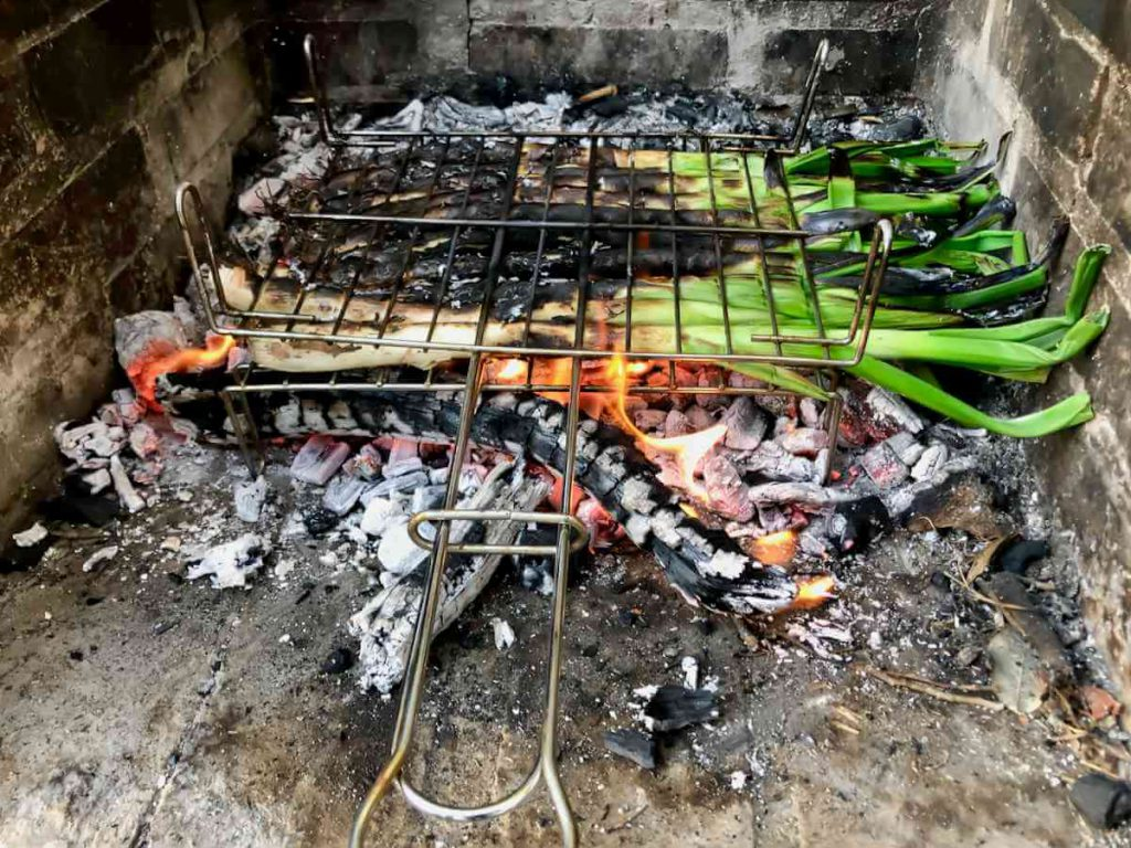 Calçots on the barbecue